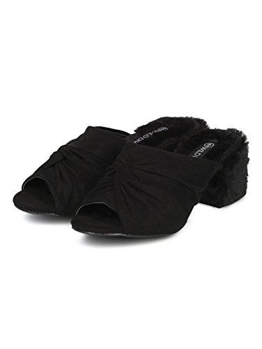 Peep Black Hd03 Alrisco Toe Faux Mule Women Block Suede Heel Fur SxxvtqzHw