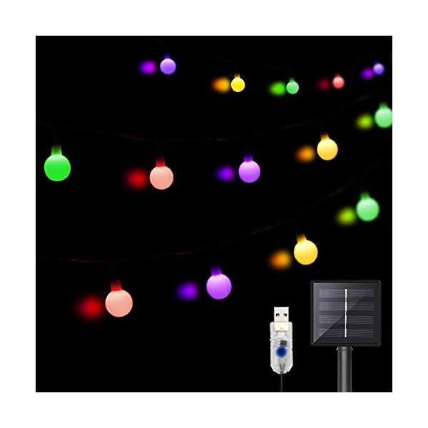 31XdgQYP4LL LED Kugel Solar Lichterkette Aussen 11M,DeepDream 60LED USB Globe Lichterkette 8 Modus Wasserdicht, Innen und Außen für…