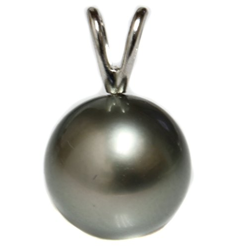 - Tahitian South Sea Pearl Pendant Necklace AAA Flawless 14kt White Gold Grey