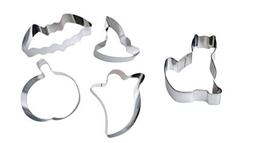 Halloween Cookie Cutters - Stainless Steel 5 Piece Set (Pumpkin, Ghost, Cat, Bat, Witch's Hat)]()