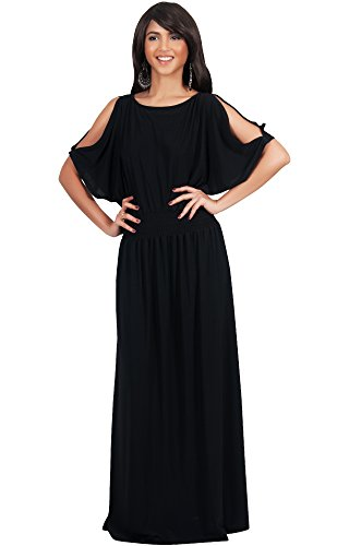 KOH KOH Plus Size Womens Long Split Flowy Short Sleeve Elegant Cocktail Loose Maternity Casual Summer Sexy Sundress A-line Modest Dressy Gown Gowns Maxi Dress Dresses, Black 2XL -