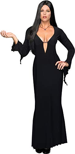 Secret Wishes Women's Adult Morticia Addams Costume Dress & Wig, Black, Plus