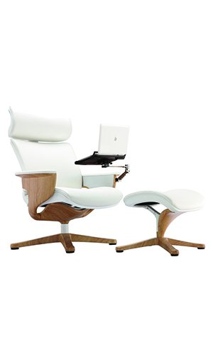 Exceptional Nuvem White Leather Deluxe Recliner Teak Finish Frame With Laptop/Tablet Arm  And Ottoman