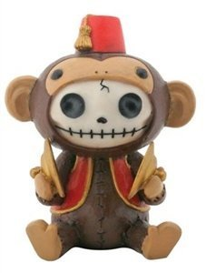 SUMMIT COLLECTION Furrybones Fez Munky Signature Skeleton in Monkey Costume Wearing Fez Hat and Vest with Cymbals