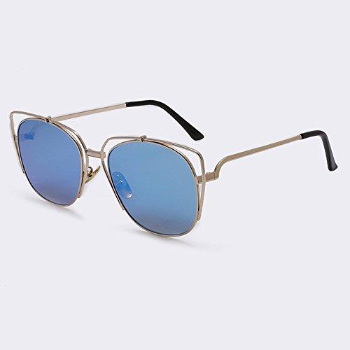 Gato de de para de sol Ojos Mujeres lujo UV400 gafas el de estilo Verano de Blue de de C07 de C05 gafas espejo Ojo gato Gafas Metal TIANLIANG04 revestimiento rosa Haz6Xw
