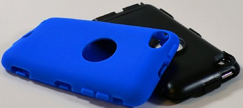 iPod Touch 4 Case, Bastex Hybrid Rugged Blue Outer Silicone Cover Hard Black Inner Shell Case for Apple iPod Touch 4