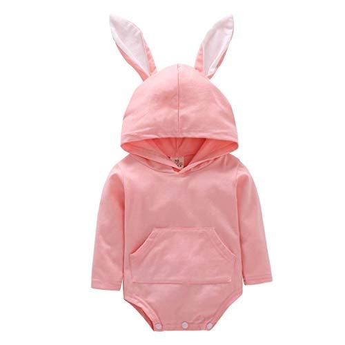 Newborn Unisex Baby Long Sleeve Cartoon Rabbit Ear Hooded Romper Jumpsuit Winter Warm Coverall Bodysuit Outfits (70, Pink)
