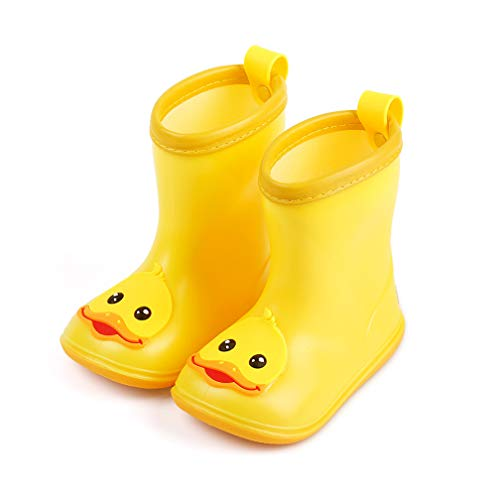 - Toddler Kids Boys Girls Rain Boots Waterproof Cartoon Duck Anti-Slip Soft Rubber Warm Water Shoes Yellow (Yellow #, US:6.5(Age:2-3T))
