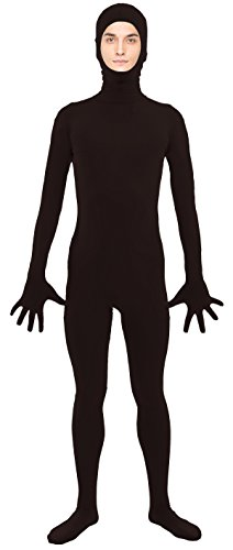 [VSVO Adult Black Open Face Full Body Zentai Supersuit Costumes (Medium, Black)] (Adult Black Suit Superman Costumes)