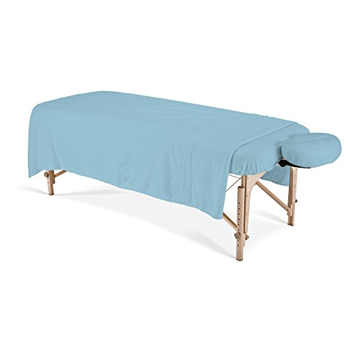 EARTHLITE Flannel Massage Table Sheet Set – Commercial Grade, Soft, Double-Napped 3-Piece Set (Top, Fitted, Face Pillow Cover)