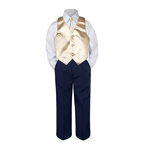 4pc Boy Suit Set Red Christmas Bow Tie Vest Baby Toddler Kid Pants S-7