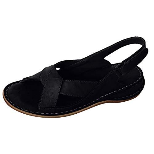 Women Slingback Shoes Open Toe Leather Dress Sandals Walking Flat Shoes Vintage Boho Walking Flat by Lowprofile Black