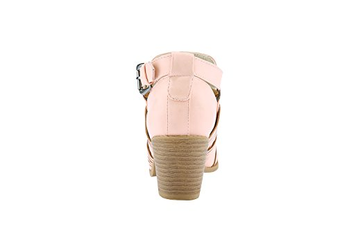 Bbalizko Womens Ankle Booties Stacked Heels Round Toe Leather Buckle Boots Beige pZiHqibj