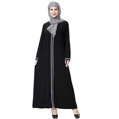 Casual Mujeres Vestidos Gris musulmán Fasion Diaria Largo Manga Beikoard Túnicas Musulmanas Dama Vintage Manchado de Larga nEZX6qT