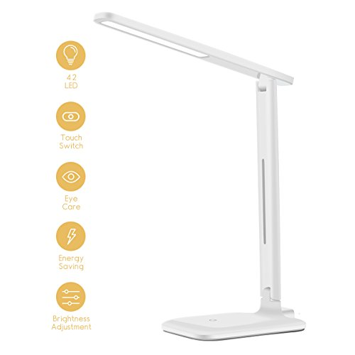 Yantop LED Desk Lamp, Eye-Caring Desk Light Dimmable Office Lamp with 9 Brightness Light, Touch Control, Memory Function, Cold White & Warm White, Foldable Table Lamp for Reading, Working, Bedroom
