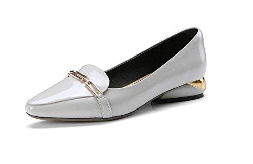 Mocasines de Cuero de Mujer Zapatos Planos de Tacón bajo de Metal Grey