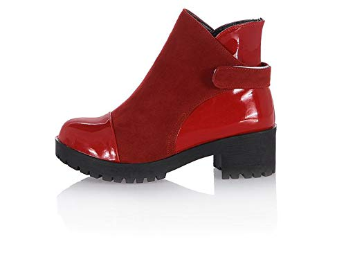 excellent.c Motorcycle Boots Thick Martin Boots Women's Ankle Boots(Red 42/10 B(M) US Women)