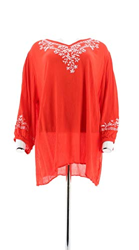 Belle Kim Gravel Embroidered Stretch Top Poppy Red White XL New A303578 from Belle by Kim Gravel