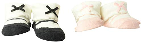 Carter's Baby Girls Bow Mary Jane Socks 2 Pack, pink/grey, Newborn
