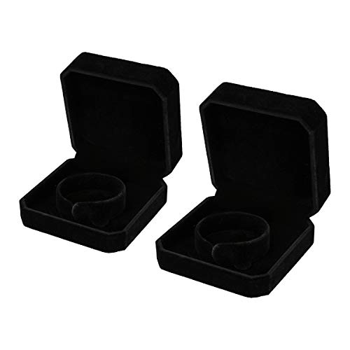 Joy.Box 2 Pack Square Black Velvet Bracelet Gift Box Jewelry Display Size:3.54