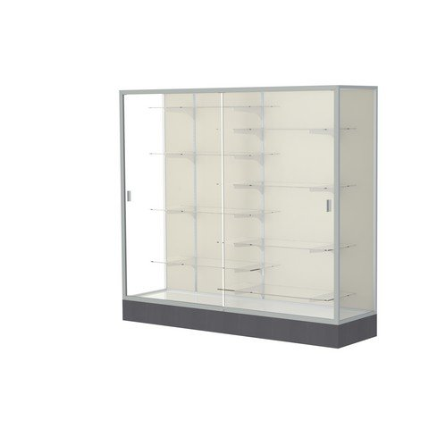 Aluminum Frame Waddell (Waddell Manufacturing Company Waddell 2606-PB-SN Colossus 72 x 66 x 20 in. Aluminum Frame Floor Display Case with Black Laminate Base44; Plaque Back - Satin)