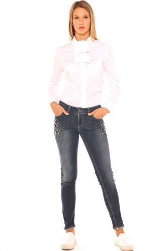 E Denim In Perle Strass Cotone Donna Key Con Jeans Skinny di qAFpH