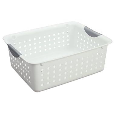 Sterilite Medium Ultra Basket Plastic Storage Bin Organizer - White