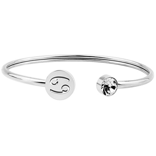 (Zuo Bao Simple Zodiac Sign Cuff Bracelet with Birthstone Birthday Gift for Women Girls (Cancer))
