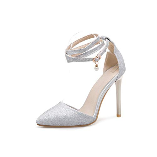 00ddf69d76c174 Cheville Silver Chaussures Hlg Plate Bouche Boucle Talons Soirée Femmes La  Bal Bride Bout À Escarpins ...