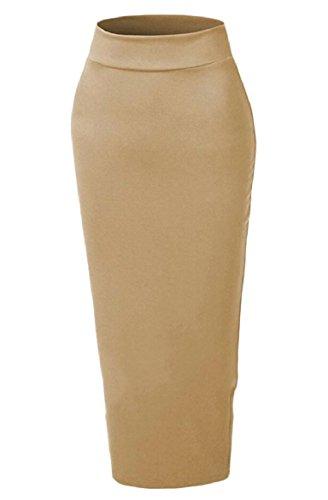 FLCH+YIGE Women Empire Waist Pencil Sheath Solid Muslim Maxi Skirt Brown S by FLCH+YIGE
