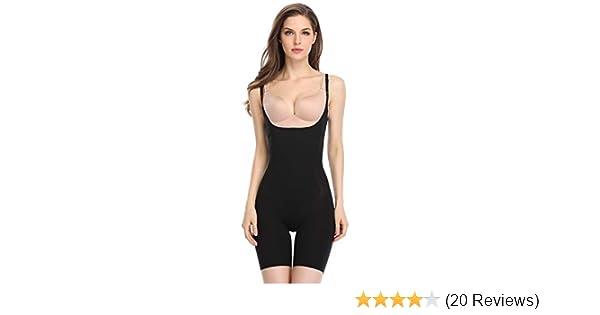 f6902eaaae4 Shapewear for Women Tummy Control Bodysuit Underwear Open Bust Slimming  Body Shaper Briefs (Black-Firm Control, S) at Amazon Women's Clothing store:
