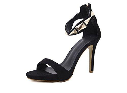 Pump Trim Platform (Woman Metal Trim Stiletto Heel high Heel Sandals(Black-39/8 B(M) US Women))