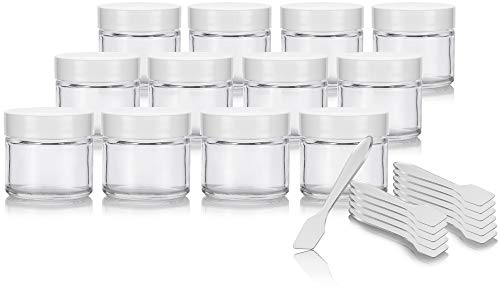2 oz / 60 ml Clear Glass Straight Sided Jar with White Smooth Lined Lids (12 pack) + Spatulas (Flat Glass Jars With Lids)