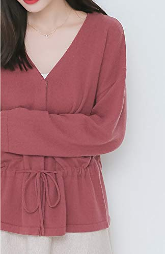 Rouge Valin Femme Col Manche Cachemire V Mince V4930 Cardigan En Longue TvHqTU