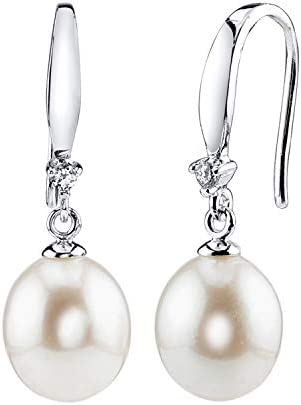Freshwater Cultured Pearl Earrings for Women Sterling Silver Dangle Earring with Cubic Zirconia - THE PEARL SOURCE