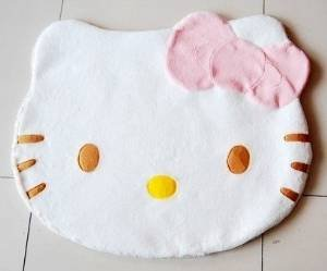 Bestfashion Lovely Big Head Hello Kitty Fuzzy Floor Cushion Mat Pad Bedroom Decoration Footcloth Rug 1 PC White OneSize, Multicolor