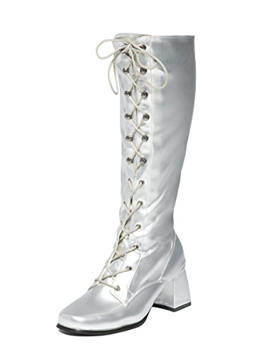 Silver Knee High Lace Up Eyelet Boots