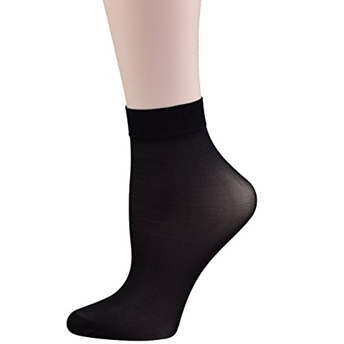 Fitu+Women%27s+10+Pairs+Pack+Nylon+Ankle+Tights+Hosiery+Socks+%28Black%29+One+Size+Black