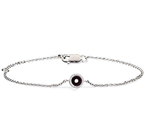 Or Blanc 14 ct Bracelet Diamant en forme de rond, 0.04 Ct Diamant, GH-SI, 2.39 grammes.