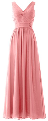 MACloth Women Long Bridesmaid Dress Straps V Neck Chiffon Formal Party Gown Blush Pink