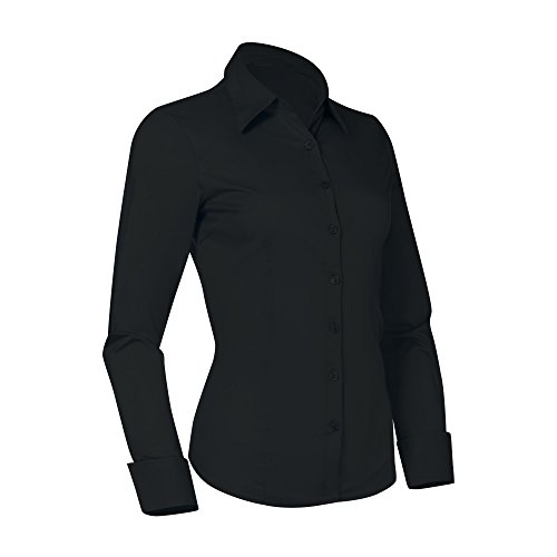 Pier 17 Button Down Shirts for Women, Fitted Long Sleeve Tailored Shirt Blouse (3XL Plus Size, Black)
