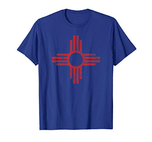 (New Mexico t-shirt - Zia symbol distressed State Flag tshirt)