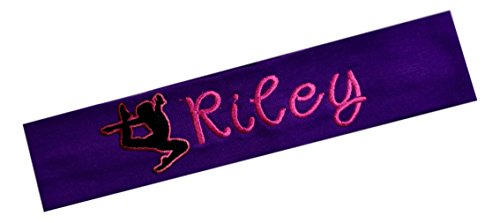 Purple Custom Basketball (Personalized Cotton Stretch GYMNAST Headband with Custom Embroidered Name (Purple Headband - Hot Pink Thread))