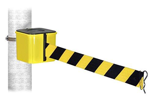 Retracta-Belt Warehouse Barrier, 20ft Black/Yellow Belt - WH412YW20-HC-BYD