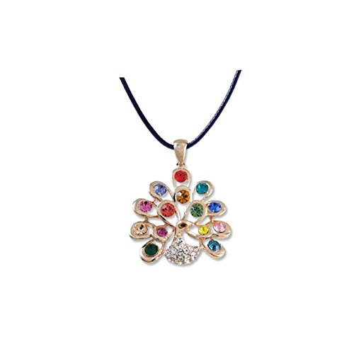 usongs Korean art jewelry women girls short paragraph flash diamond peacock diamond necklace pendant leather cord hypoallergenic hypoallergenic accessories pendant