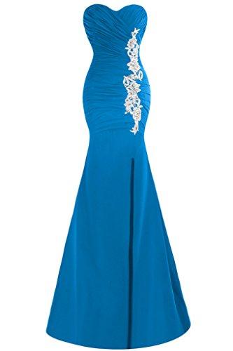 Schlitz Festkleid Ausschnitt Mermaid Abendkleid Damen Promkleid Blau Herz Applikation Ivydressing fxqgnTXwSX