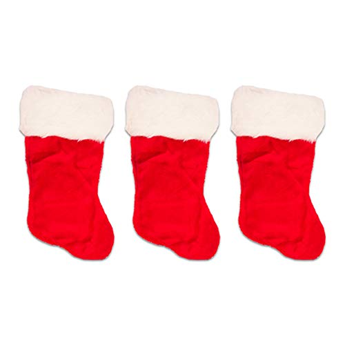 - Crenstone Christmas Stockings Set of 3 - Deluxe Large Red and White Plush Holiday Stockings for Family Kids Boys Girls (17