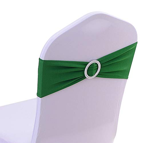 50PCS Spandex Chair Sashes Bows Elastic Chair Bands with Buckle Slider Sashes Bows for Wedding Decorations 25 Colors (Dark Green)