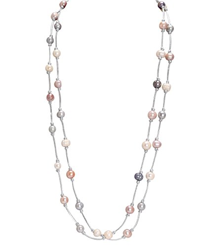 [Aobei Pearl Mixed Cultured Freshwater Pearls Necklace,Handmade Beading Costume Necklace Natural Stones] (Colored Stone Costume Jewelry)