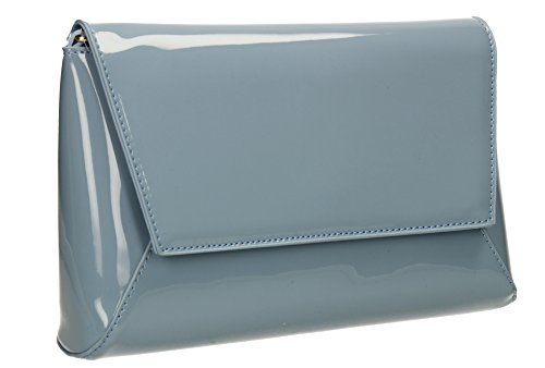Party Patent Serenity Clutch Elise Womens Out SWANKYSWANS Night Wedding Ladies Leather Celebrity Blue Bag Prom StSdxwOTvq